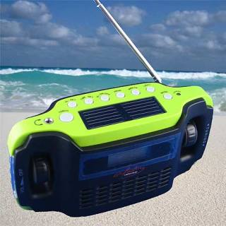 Solar-powered and wind-up radio