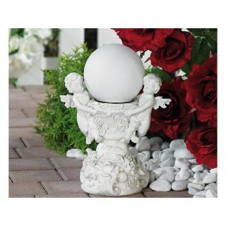 Fontaine avec deux anges portant une boule lumineuse solaire