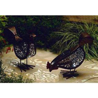 Solar-powered animal lights Metal Hens set of 2