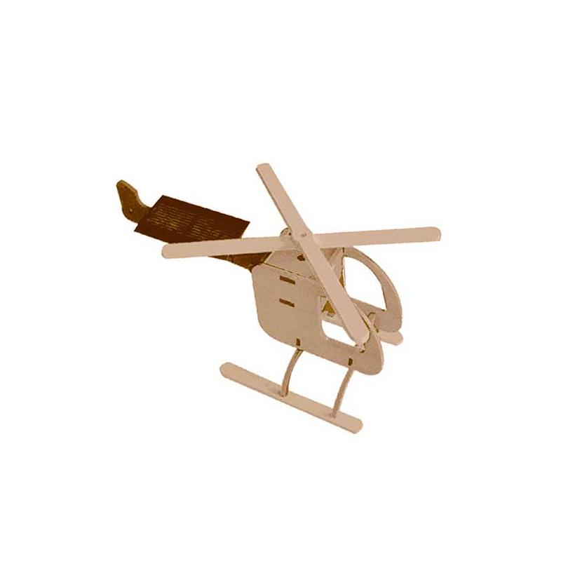 Solar-powered wooden kit Helicopter