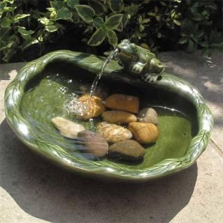 Fontaine en céramique verte Grenouille