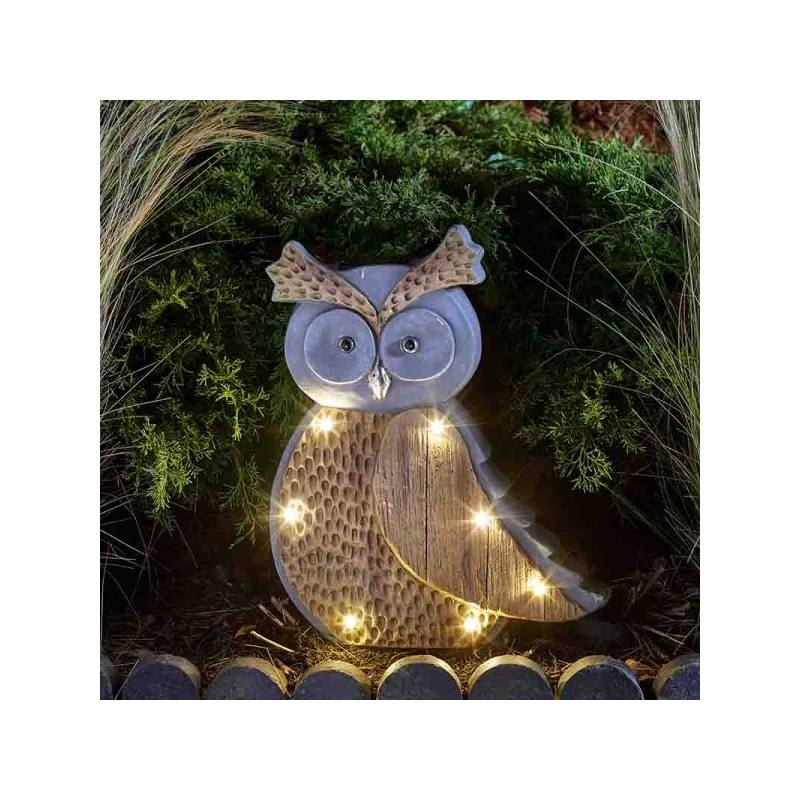 Solar-powered Wood Stone In-Lit Owl
