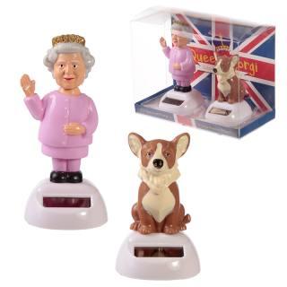Figurine solaire reine Queen et chien Corgi