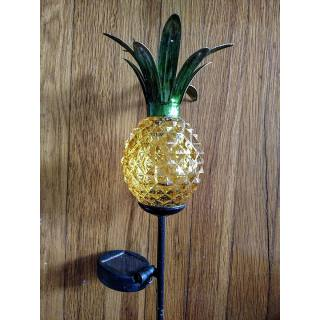 Solar LED Landscape Path Light with Glass Pineapple