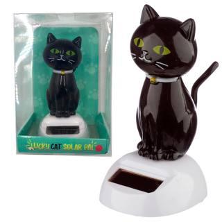 Solar-Wackelfigur Schwarze Katze