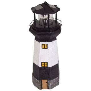 Solar-Leuchtturm schwarz/weiß
