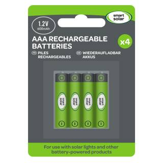 Smart Solar Rechargeable Batteries AAA in 600mAh