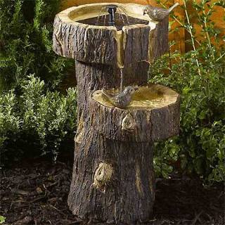 Solar-powered fountain Bird Bath Tree Trunk