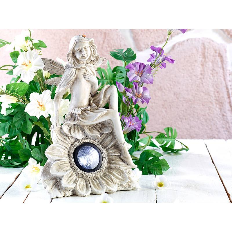 Lunartec Solar-Garden Ornament Seated Fairy with LED Lighting