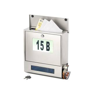 Boîte aux lettres solaire avec numéro lumineux