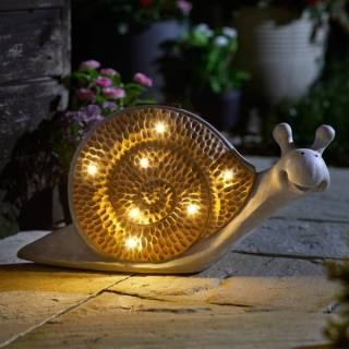 Solar-powered Wood Stone In-Lit Snail