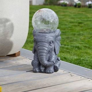 Smart Solar Elefant mit Solar-Glaskugel