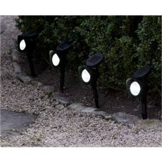 Solar-powered stake-mounted flood lights Set of 4