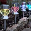 Stake-mounted/tabletop light Light with Crystal Glass Effect set of 4