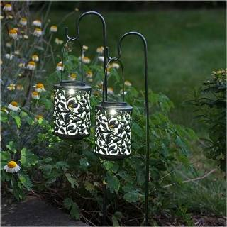 Solar-powered lantern Shepherds Crook Lantern with a...